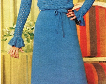 Vintage Gibson Girl Ruffled Trimmed Blouse & Knitted Skirt PDF Pattern Instant Download
