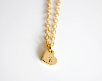 Gold initial heart necklace, Dainty initial necklace, bridesmaids gift, flowergirl gift, Wedding favor, friendship necklace, mothersday