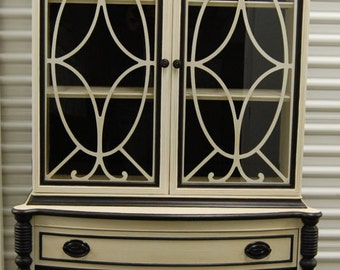 Vintage China Cabinet with a White and Black Make Over