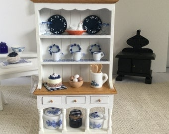 Hutch with Blue Accents for 1:12 Scale Dollhouse