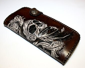 Handmade mens leather biker wallet with hand-carved pattern in sheridan style, hand-tooled biker wallet, carved wallet, tooled wallet