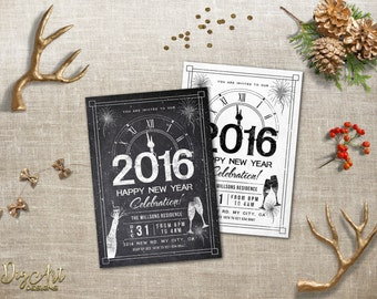 New Years Invitations Printable or Printed New Year's Eve Invitation, Chalkboard New Years Party invite, Black White Holiday Party Invite
