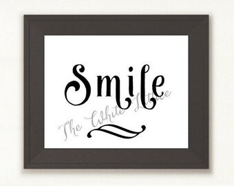 SALE * BUY2GET1FREE * - Smile Print, Black n White Print, SMILE Decor, Printable Wall Art, Instant Download, Black and White Decor Print