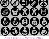 Crunchy Momma Circular Decal! Breast feeding, baby wearing, tule, intactivists, nursing, pumping, bottle feeding, anti vaccination, etc.