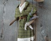 Scottish Girl Hare Rabbit primitive soft scutlpure doll wearing Arisad
