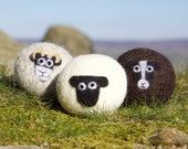 Wool dryer balls, pack of 3 mixed sheep felted laundry balls, reusable, chemical free laundry, natural fabric softener