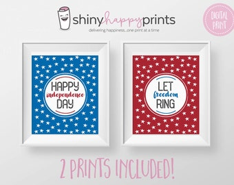 2 PRINT PACK - July 4 Digital Decor - Instant Download Patriotic Wall Art - Red White Blue Independence Day Printable Sign - 2 SIZES