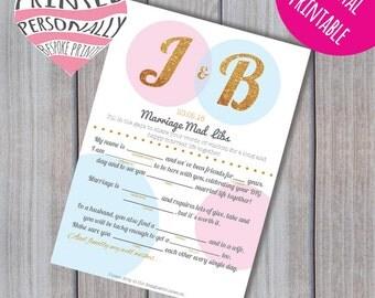 Personalised wedding mad libs - Mad lib printable - Wedding advice - Guest book mad libs - Mad lib advice - Wedding game