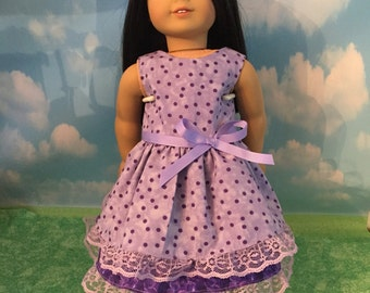 "Purple Dress for 18"" Dolls like American Girl Dolls"