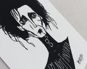 Edward Scissorhands Sketchy Portrait - Art Print - Digital Illustration - I'm not finished