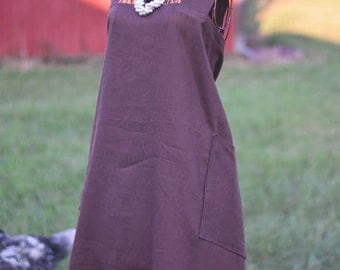 Espresso Linen Farm Girl Work Apron | Ready to Ship!