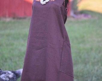 Espresso Linen Farm Girl Work Apron | Ready to Ship!
