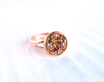 SUNSET-copper ring and bright resin