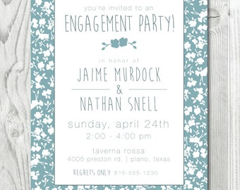 Floral Silhouette Engagement Party Invitation  |  Digital