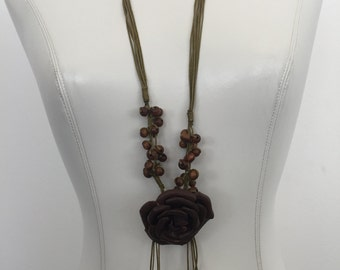 Handmade Leather Flower Necklace with Beading
