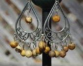 Jasper Stone Tibetan Silver Chandelier Earrings ~ Brown Stones ~ Boho Chandelier Earrings ~ Bohemian Jewellery ~ Semi Precious Stones