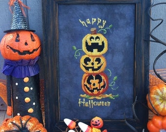Halloween Pumpkin Stack: Exclusive Autumn Lane Stitchery Cross Stitch Pattern Leaflet