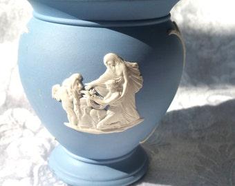 Vintage Wedgwood Jasperware Vase, Blue Jasperware Vase, Blue Jasperware Cherub Vase, Cherub Jasperware Vase, Greek Vintage Wedgewood Vase