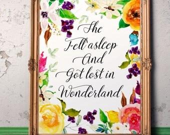 Alice in Wonderland Garden art Nursery decor Baby girl nursery art Printable kids gift Baby shower gift  Instant download Play room art