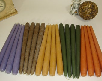 4 Paraffin Wax Tapered Candles 10 inch Tall, Unscented. Different Colors. Cotton Wick. Rustic Looking.