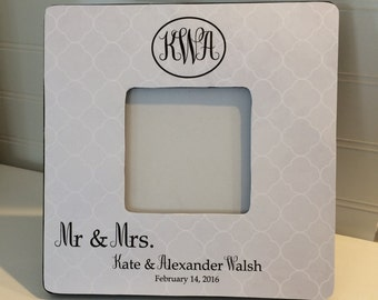 Mr. & Mrs. Monogram Picture Frame, Wedding Gift, Monogram Picture Frame, Personalized  Picture Frame, Shower Gift, Wedding Picture Frame,