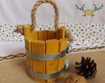 small PAIL Small wooden bucket Home Decor  Handmade