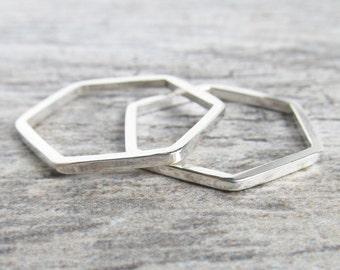Hexagon Ring Stack - Sterling Silver Stacking Ring - Geometric Rings Stackable - Minimalist Ring - Unique Rings for Her - Simple Ring