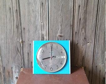 "French Vintage ""Bayard"" Wall Clock  -  Mid Century Bright Blue Enamel and Chrome Wall Clock"
