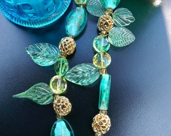 Wistful Gold and Green Leaf and Ribbon Necklace