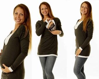 3 in 1 Bellys nursing T-shirt graphite long sleeve maternity wear