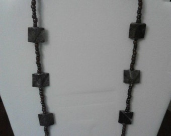 "Unique Gray/Brown ""Stonework"" Paper and Glass Bead Necklace"