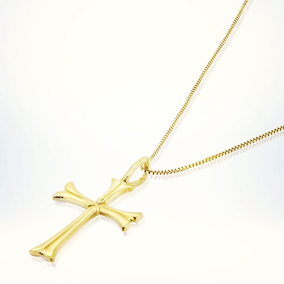 cross pendant necklace 14k solid gold necklace by