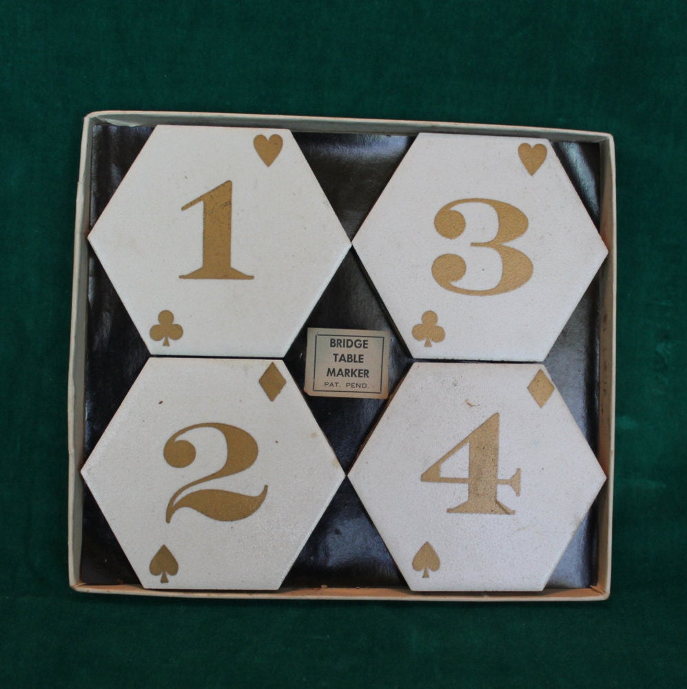 Vintage Bridge Table Markers Playing Card Table Numbers Whist