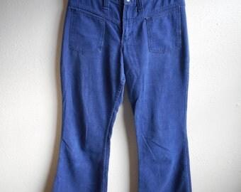 vintage 60s wrangler blue denim jeans made in USA sailor cut hip hugger boot cut