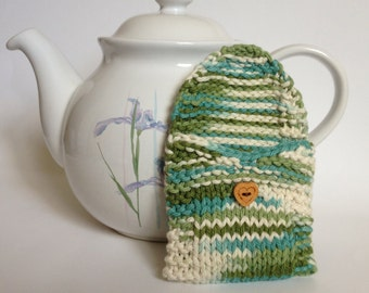 Green Camo Tea Bag Cozy Pouch Wallet, Sugar Packet Tote Holder, Tea Lover, Knit Cotton Cosy with Heart Button, Mother's Day Gifts Under 10