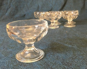 Vintage Clear Depression Glass Paneled Custard Cups, Dessert Cups or Champagne Glasses, Set of 6