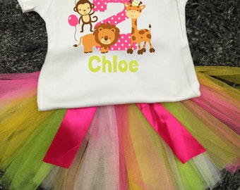 Girl's 2nd Birthday Outfit Jungle 2nd Birthday, Safari Theme Second Birthday Tutu Outfit Jungle Theme Personalized