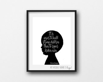 It is easier to build strong children than to repair broken men, frederick douglass, african american nursery, boy silhouette, black white