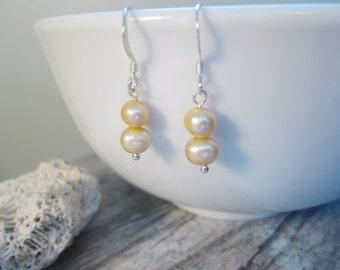 Freshwater Pearl Earrings, Cultured Pearl Jewelry, Bridesmaid Gift, June Birthstone, Tiny Pearl Drop Earrings, Pearls under 15