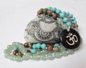 Gemstone Meditation Yoga Japa Mala, Zen Buddhist mala, 108 Mala Beads Om Mala Necklace, Green Aventurine Unakite Turquoise Prayer Beads Mala