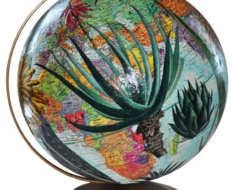 Vintage Globe Decoupaged with Succulents