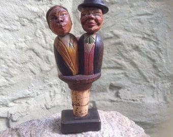 Folk Art Carved Wood Kissing Couple Cork Stopper