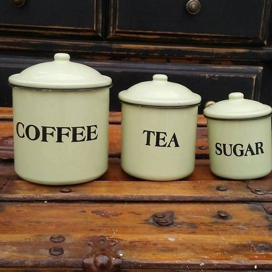 vintage enamel canisters enamel kitchen canister set coffee