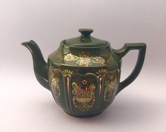 Green Japanese Teapot; Hand Painted Teapot; Gold Trim Teapot; Moriage Pattern Teapot; Ceramic Teapot; Vintage Teapot