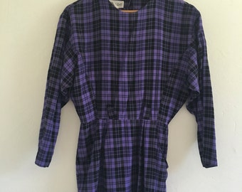 Purple Plaid Long Sleeved Mini Dress
