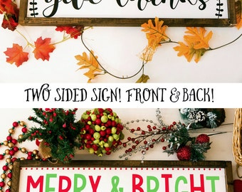 Reversible holiday sign, Give thanks sign, merry & bright sign Christmas sign, holiday sign, two sided sign, framed wood sign, fall decor