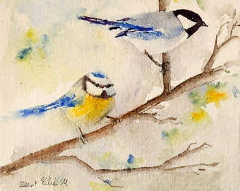 Original  watercolor of 2 chickadees on a branch - original painting of birds in a tree