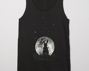 The Moon & Rabbit Look at The Full moon Stars Night Dark Gray MEN Vest Tank Top