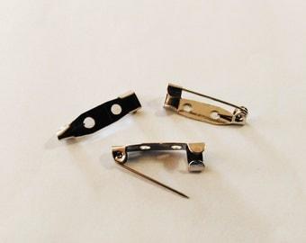 10 silver brooch backs Bar pins Back bars Pin backs Brooch pins Brooch bases Brooch making supplies Brooch Findings B16883 Jewelry supplies