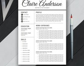 Professional Resume Template, CV Template, Extra Page, Cover Letter, , Word, Modern Simple Professional Resume, Instant Download, 'CLAIRE'